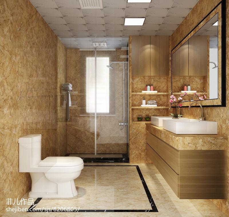 117平米简约复式卫生间装修设计效果图片欣赏