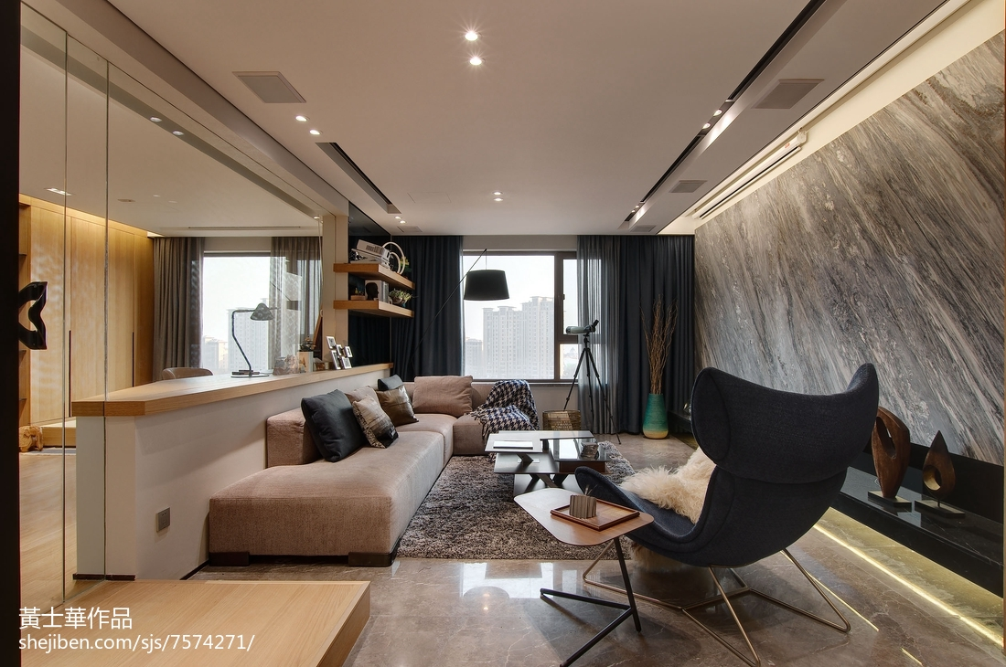 热门面积76平现代二居客厅效果图