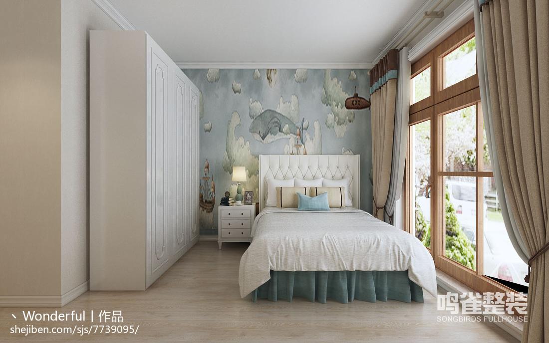 美式床头背景墙设计图