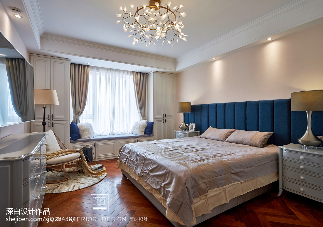 面积99平美式三居卧室装修设计效果图片欣赏