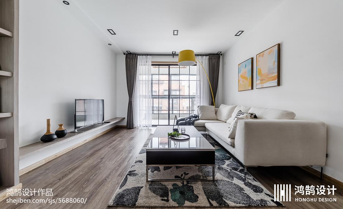 2018面积73平北欧二居客厅装修实景图片