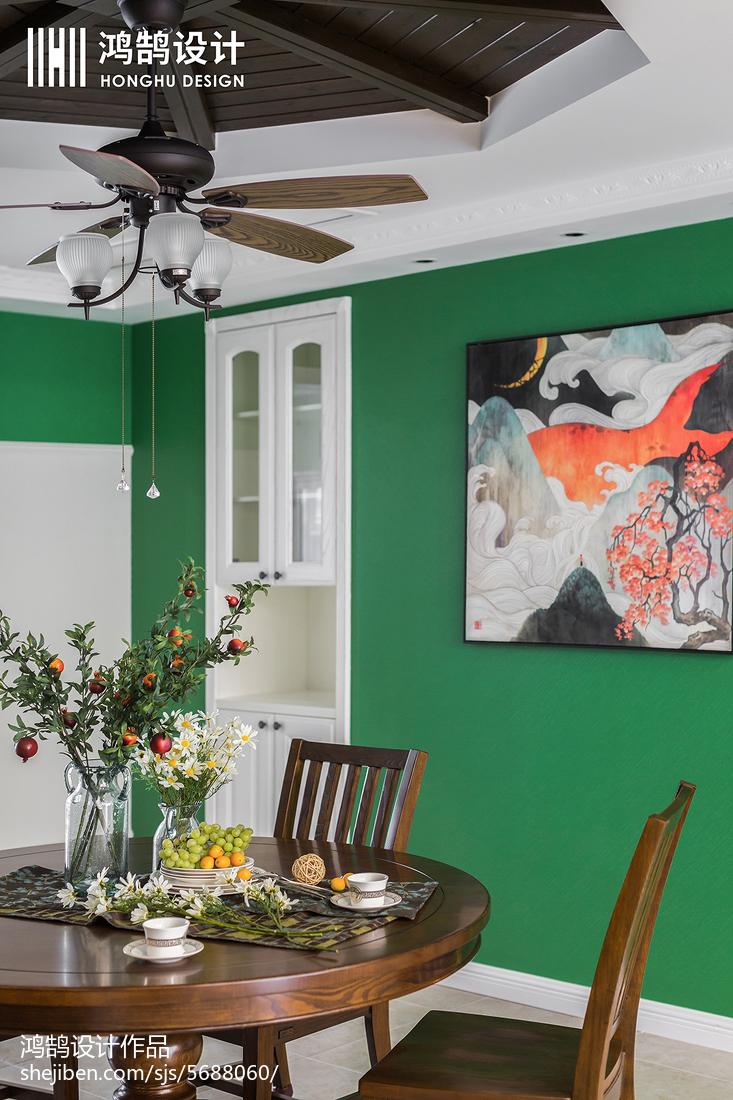 精美面积91平美式三居餐厅装修实景图片