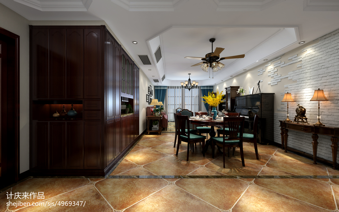精美面积107平现代三居装修欣赏图