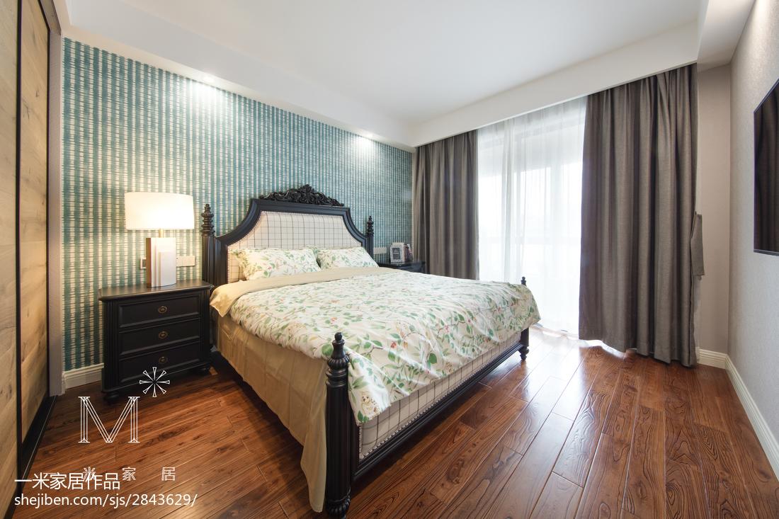 温馨105平美式三居卧室装修图