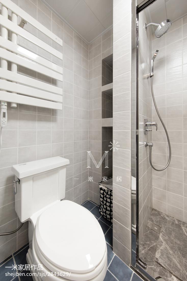 质朴93平美式三居卫生间实景图片