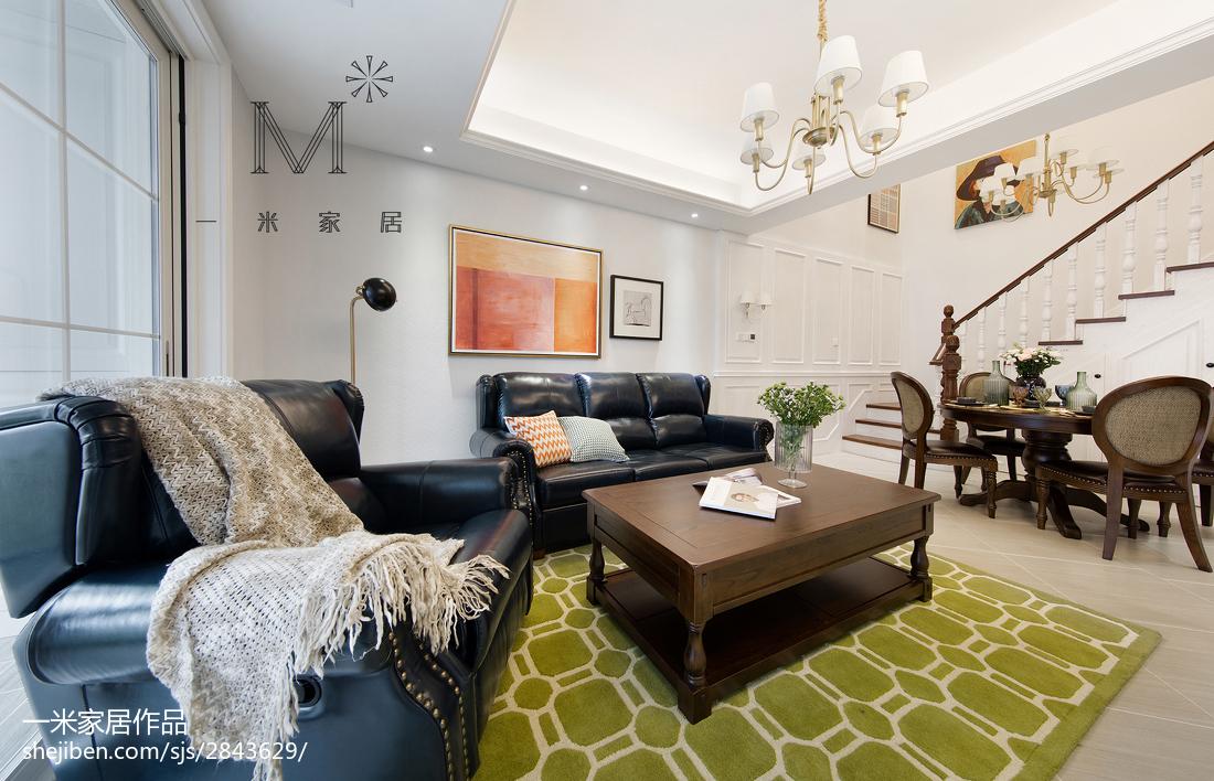 精美面积107平美式三居客厅装修设计效果图