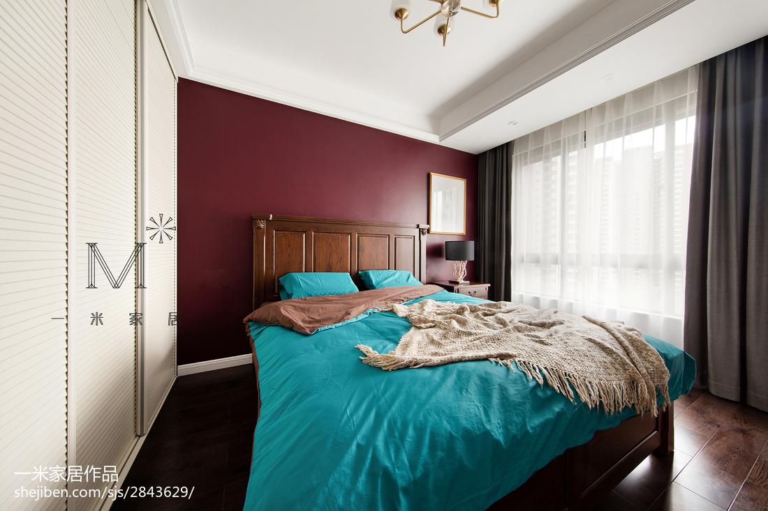 热门面积98平美式三居卧室装修实景图