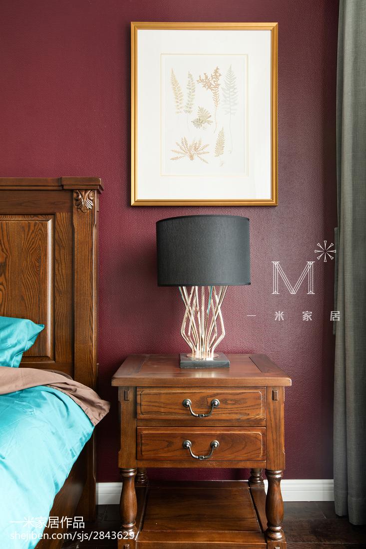 精美面积107平美式三居卧室效果图片欣赏