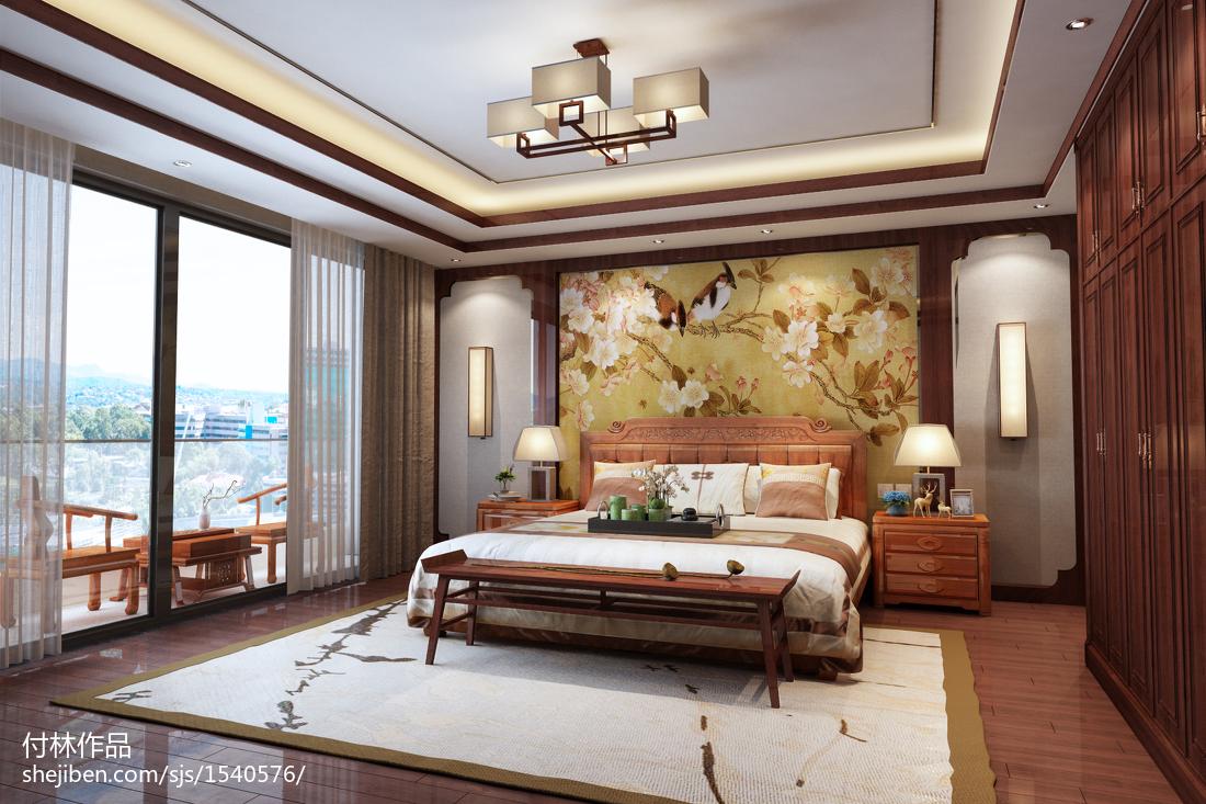 中式风格卧室装修效果图大全2012图片