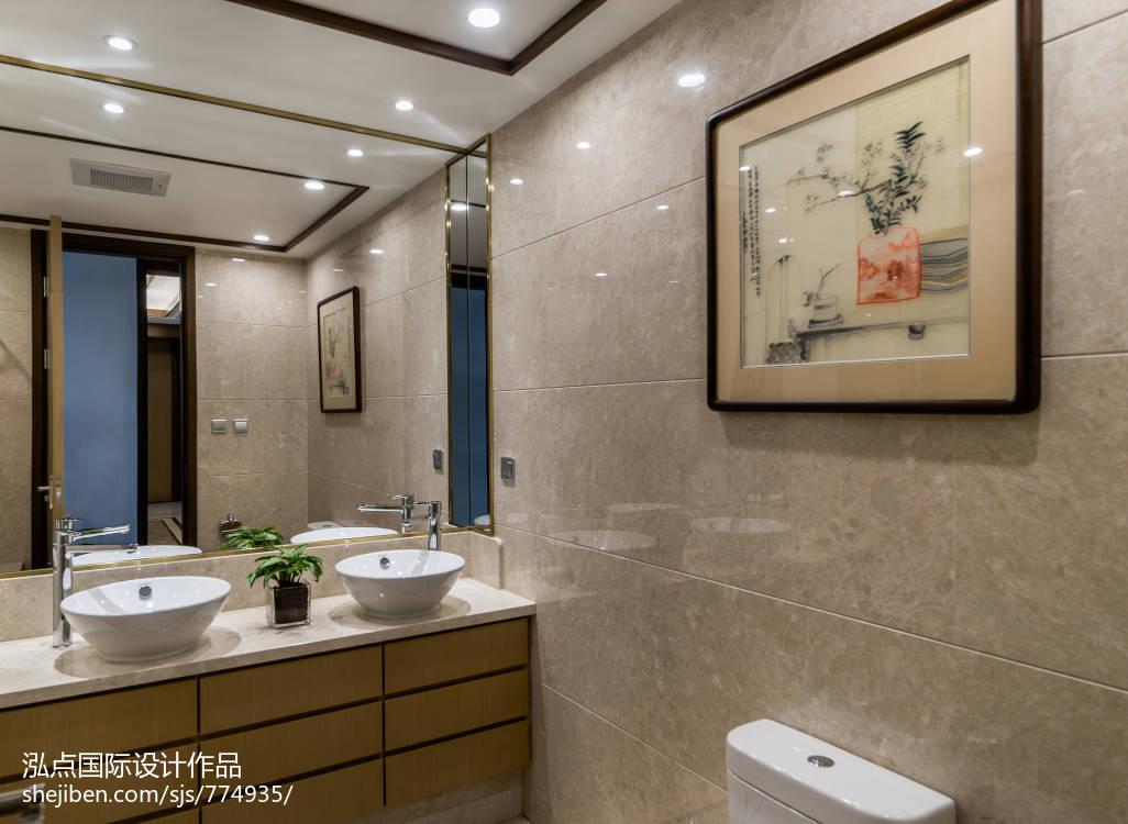 103平米三居卫生间中式装饰图片