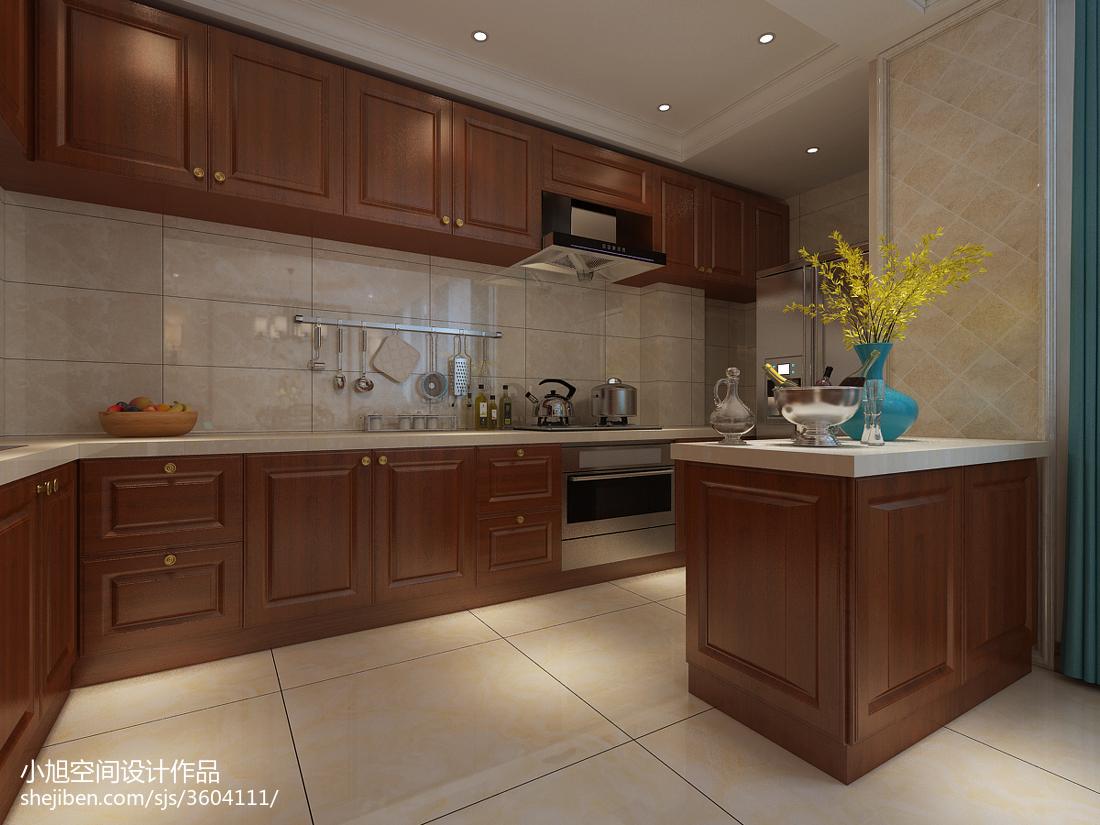 美式厨房吧台设计装修效果图
