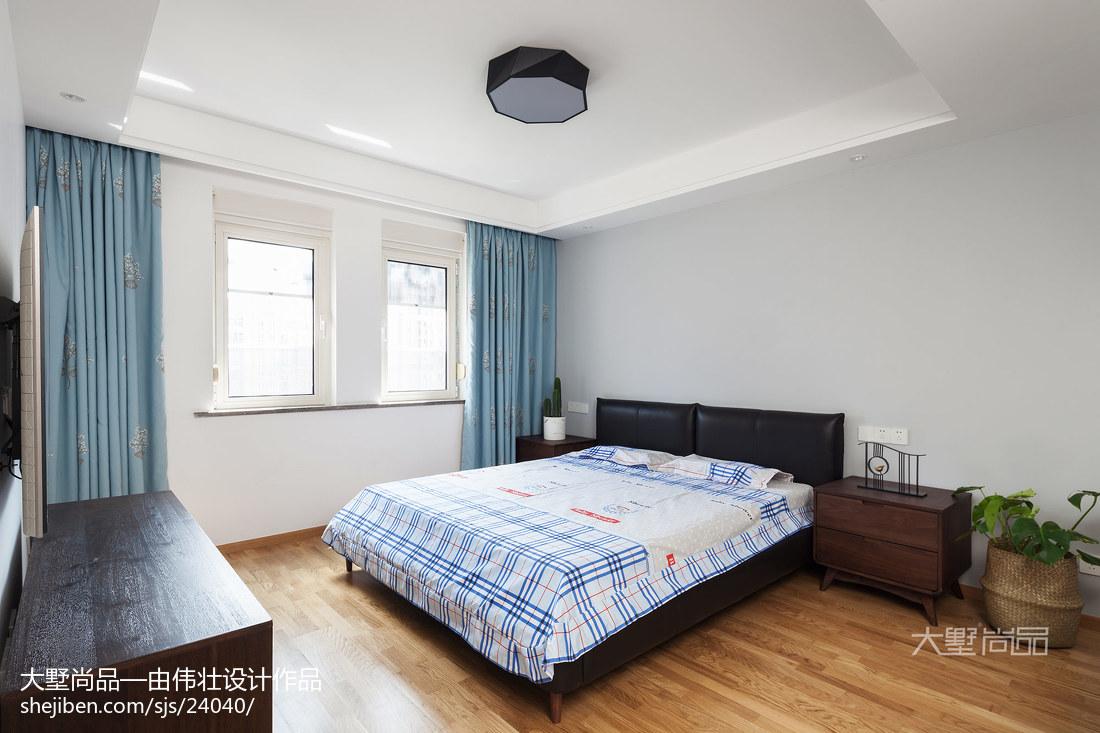 热门109平米三居卧室北欧装修效果图片大全