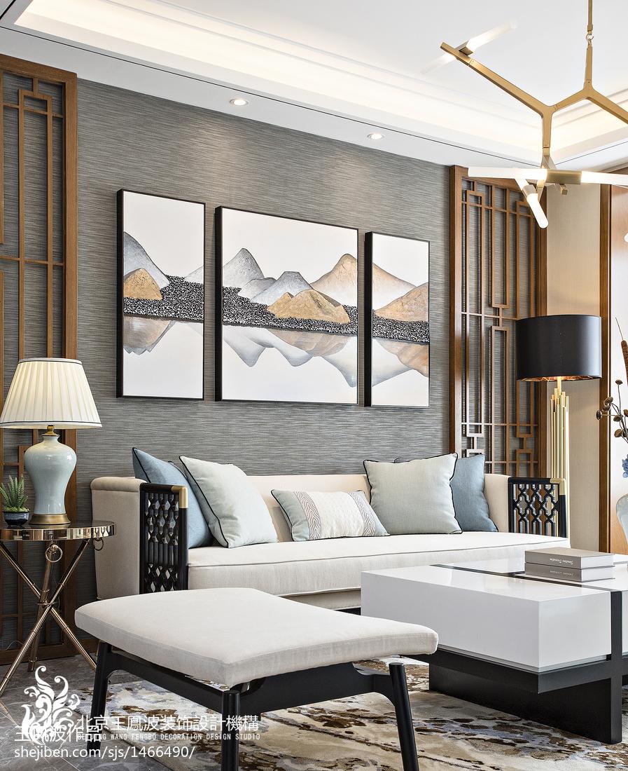 精美面积112平别墅客厅中式装修效果图