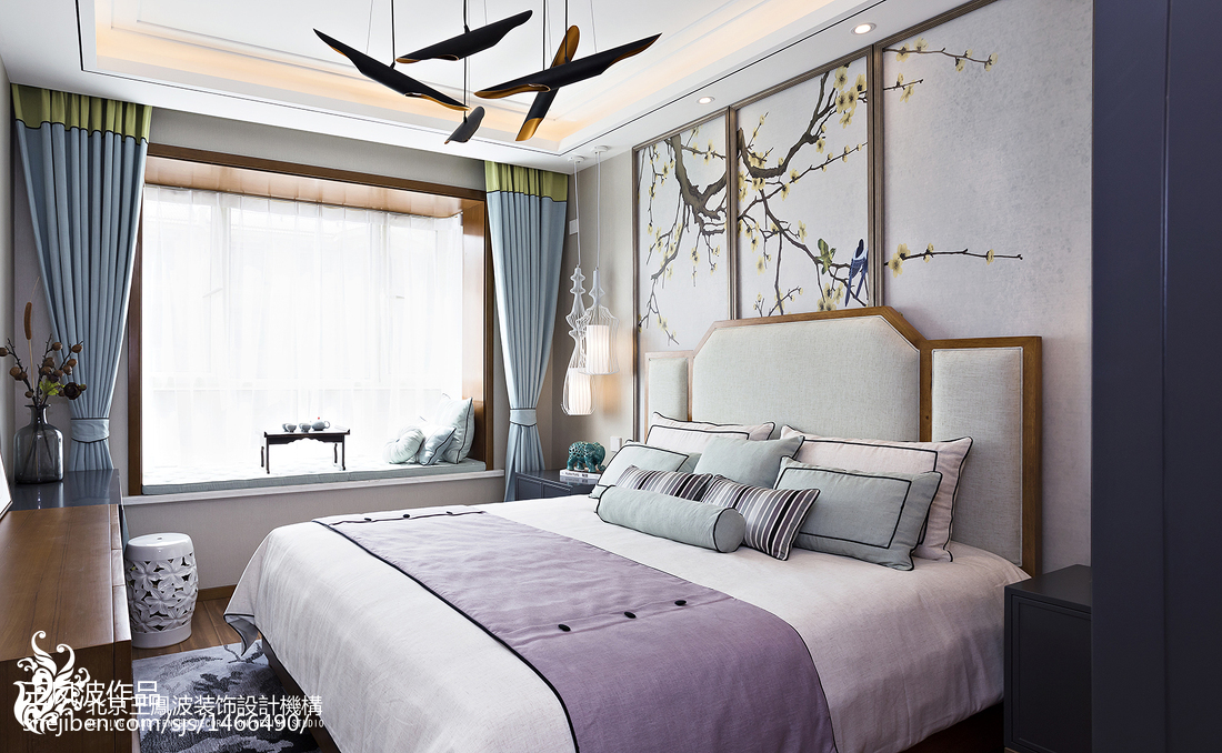 2018大小139平别墅卧室中式装修设计效果图片欣赏