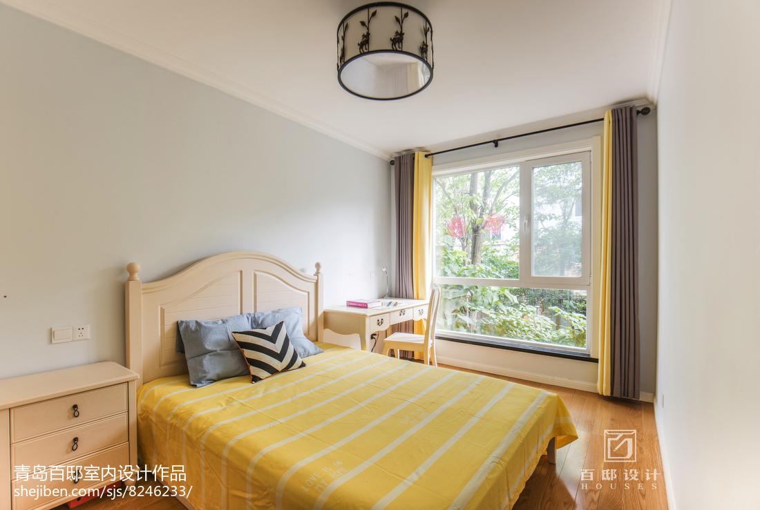 精美91平米三居卧室美式装修图片