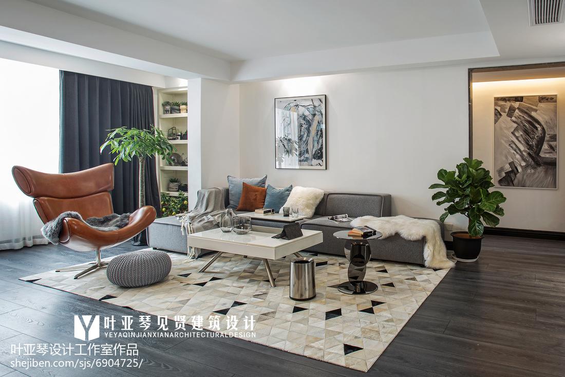 精选大小96平现代三居客厅实景图