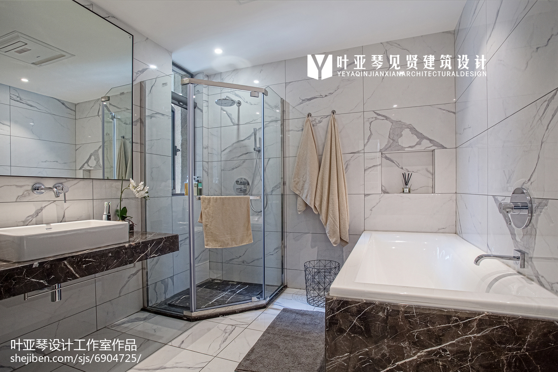 精选面积105平现代三居卫生间装修实景图片欣赏