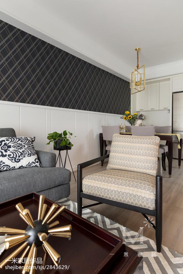 热门大小98平美式三居客厅效果图片欣赏