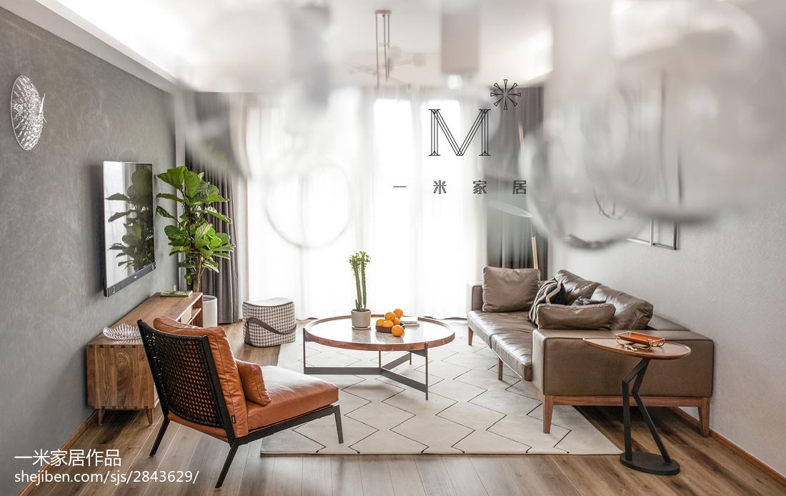 面积128平复式客厅北欧实景图片