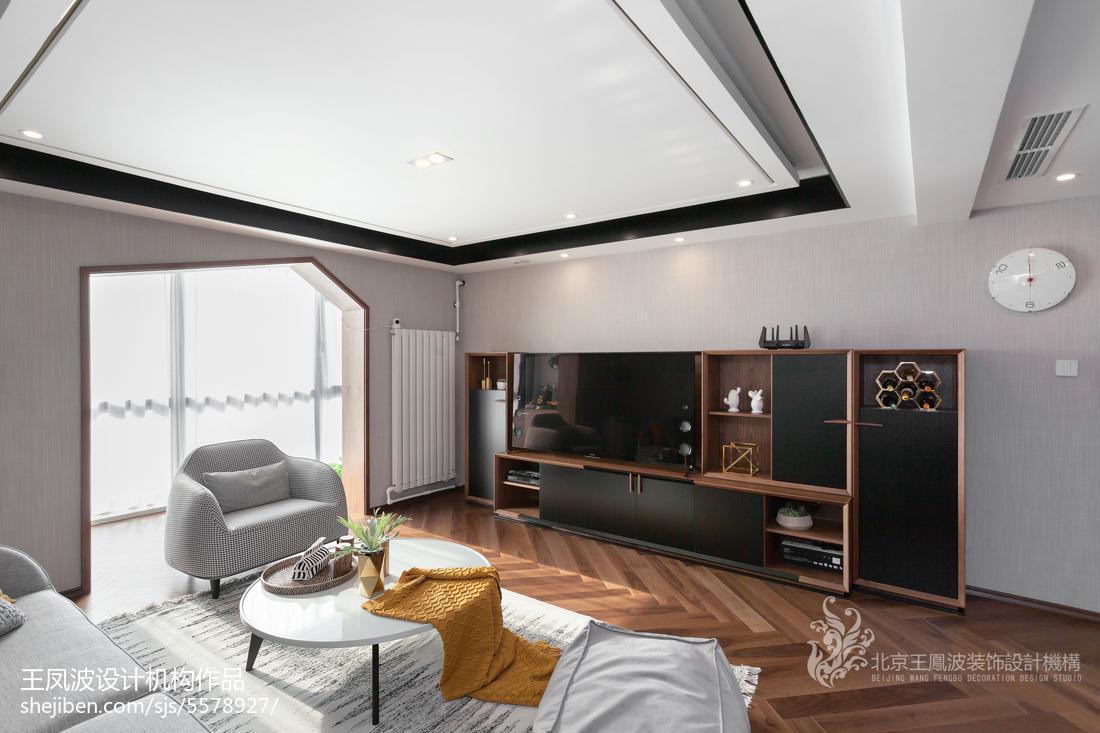 素木优雅现代三居背景墙设计图
