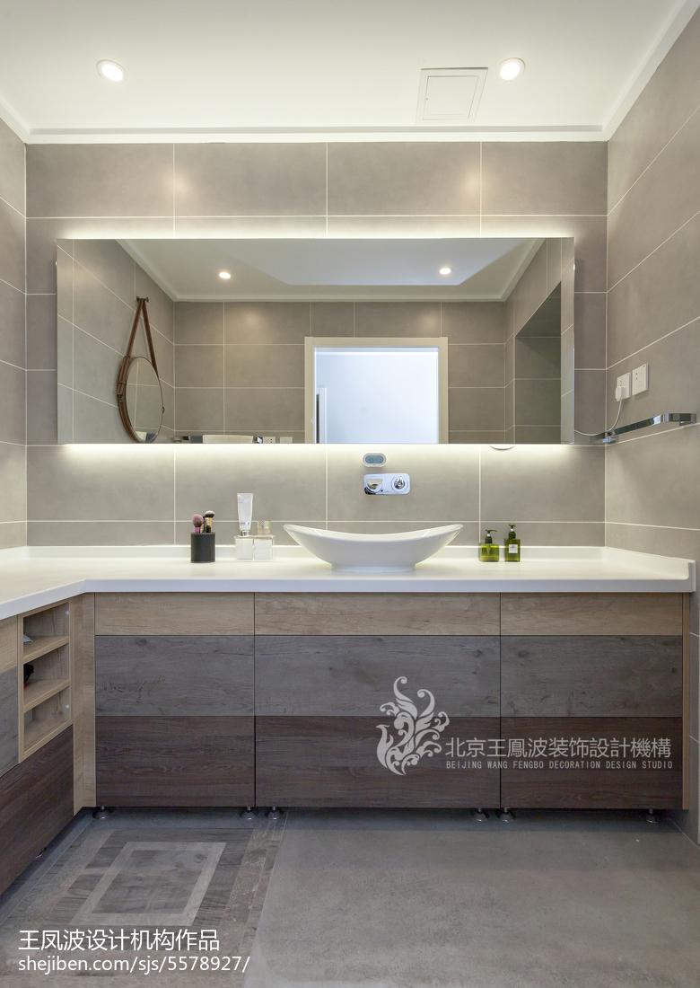 素木优雅现代三居卫浴设计图