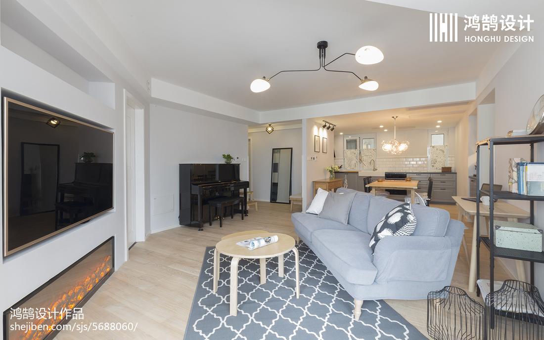 精美面积97平北欧三居客厅装修设计效果图片欣赏