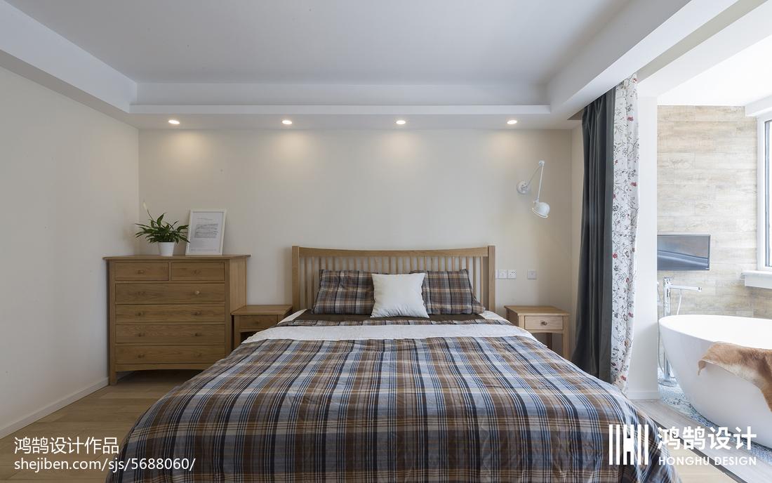 热门90平米三居卧室北欧装修实景图片大全