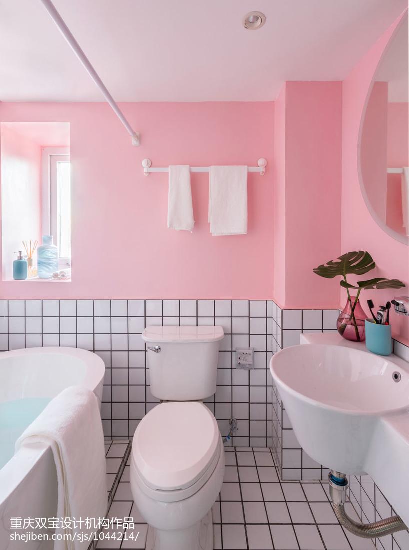簡單混搭三居兒童房衛浴設計圖