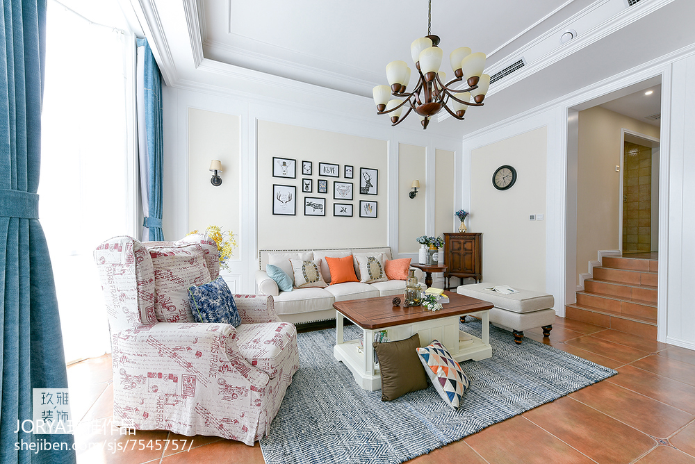 普通美式三居客厅设计效果图
