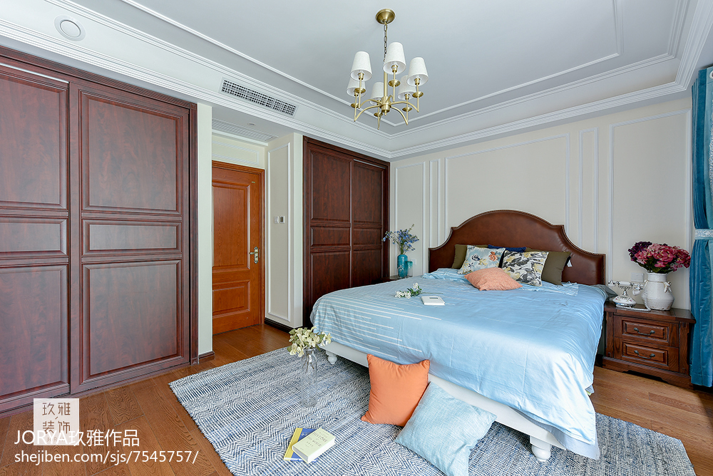 复古美式三居卧室设计图