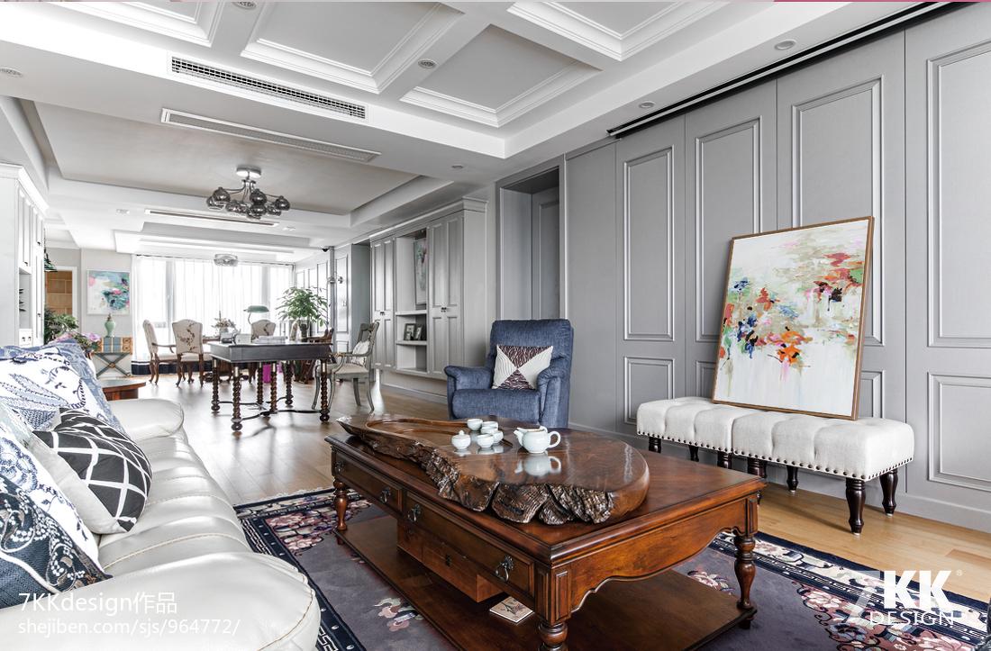 悠雅85平美式三居客厅装修装饰图