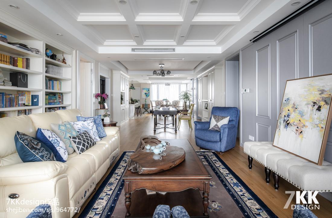 温馨111平美式三居客厅设计案例