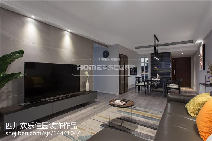 热门大小107平现代三居客厅装修设计效果图