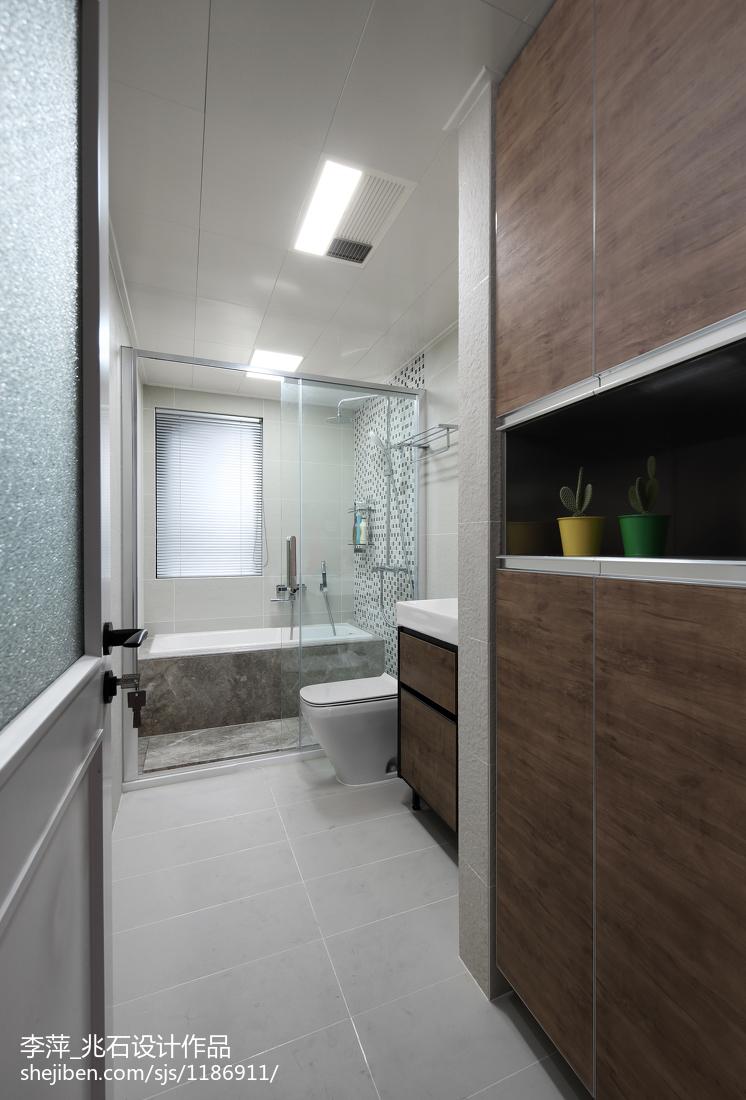 热门面积107平北欧三居卫生间装修设计效果图片