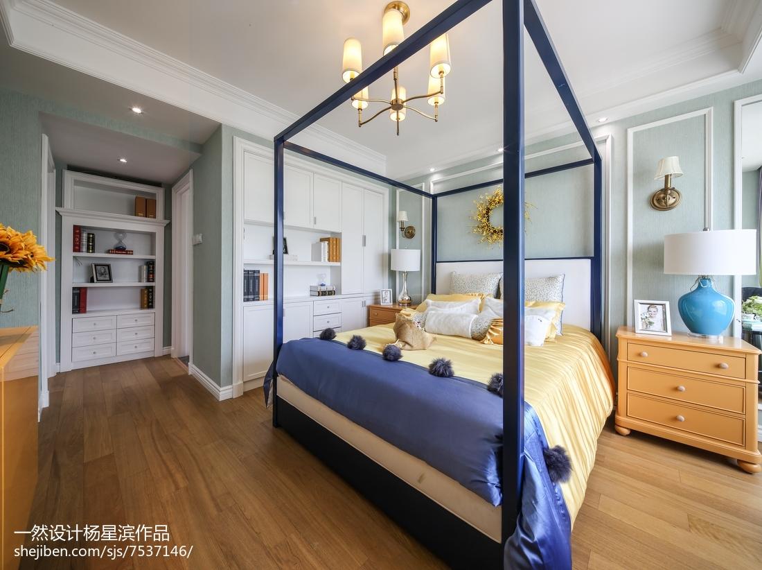 美式样板房主卧室实景图