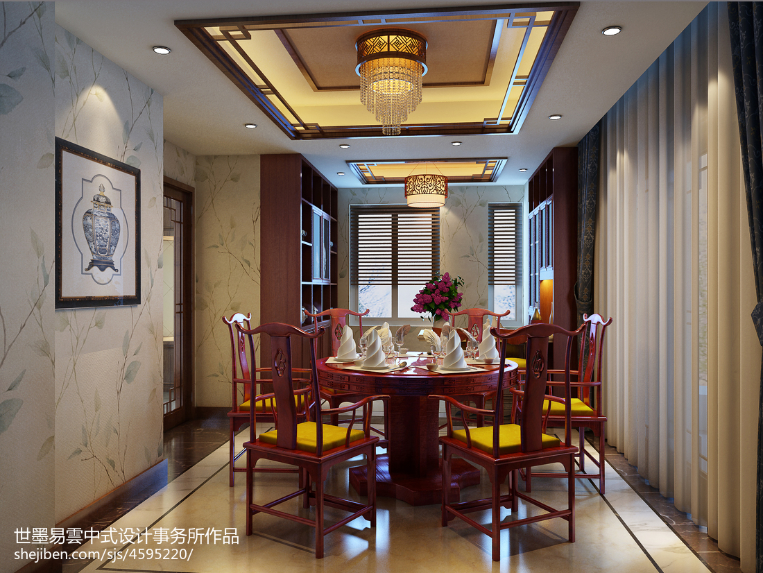 質樸994平中式別墅餐廳設計案例