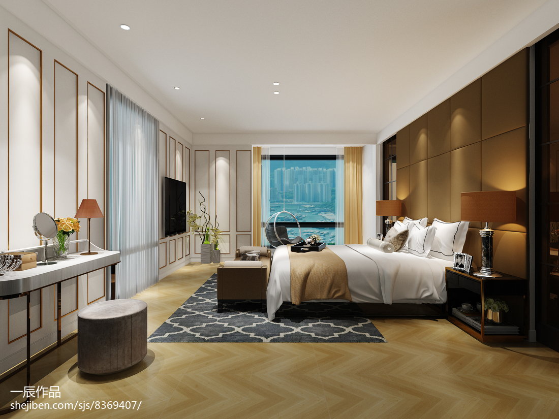 2018122平米现代别墅卧室装修图片