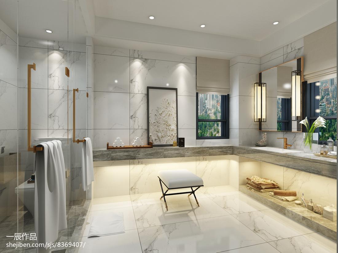 2018精选121平方现代别墅卫生间装修设计效果图