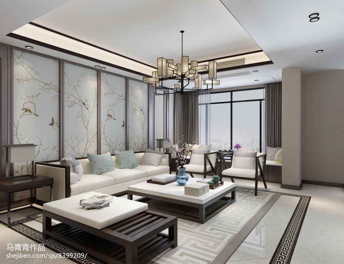 2018面积112平复式客厅中式装修欣赏图片