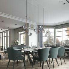 面积118平别墅餐厅新古典装修实景图