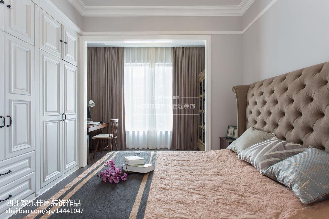 2018面积72平美式二居卧室装修效果图片大全