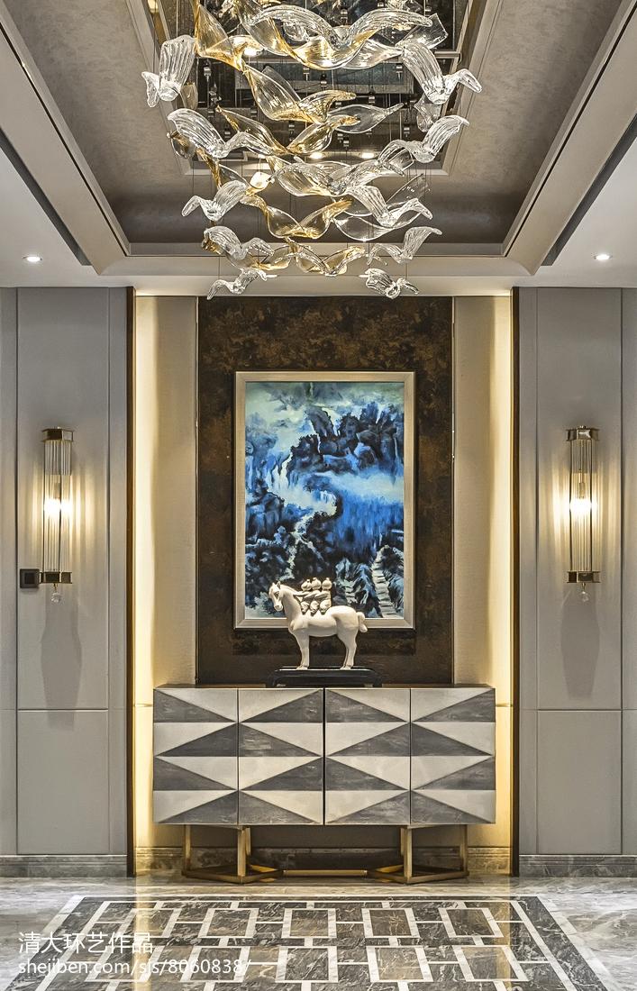 精选137平米中式别墅玄关装修效果图片