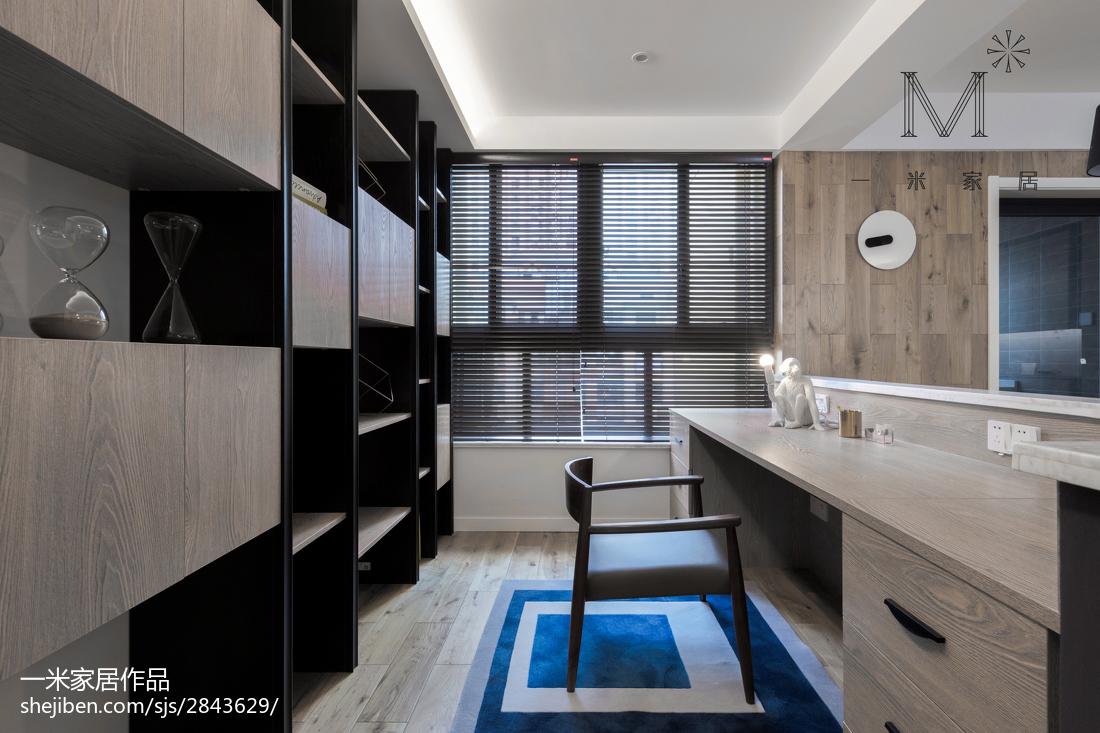 热门100平米三居书房现代实景图片欣赏