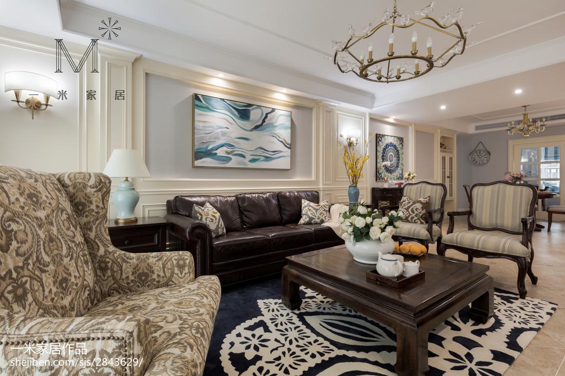 面积128平美式四居客厅装修欣赏图片大全