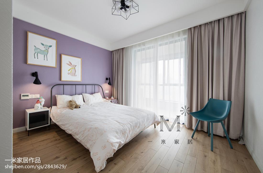 轻奢104平北欧三居卧室装修设计图