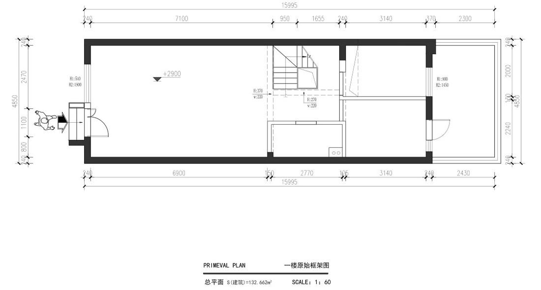 日式冷色调复式户型装修效果图