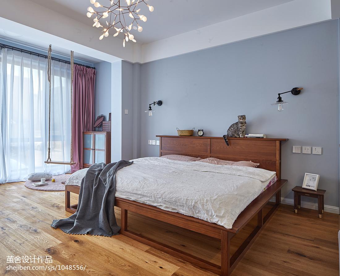 蓝色系北欧卧室设计图