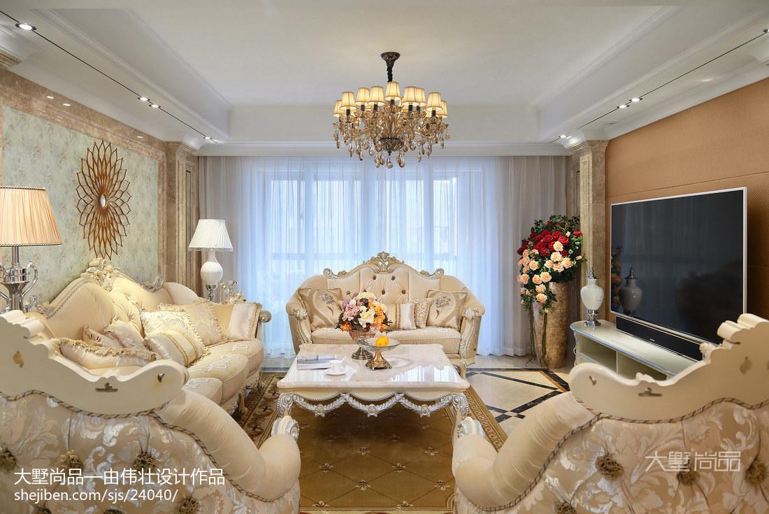 2018精选大小98平欧式三居客厅装修设计效果图