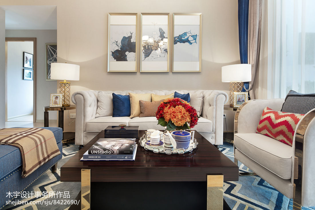 新中式古典风格别墅室内吧台效果图
