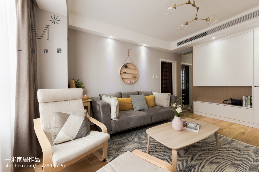 2018大小105平北欧三居客厅欣赏图片大全